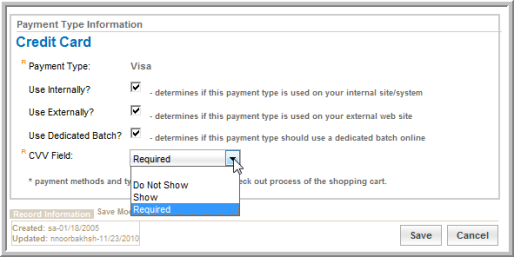 Using the CVV Field for Credit Card Transactions