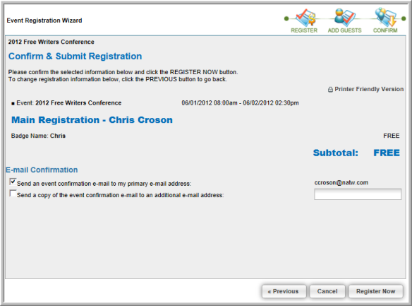 Free Events and the Event Registration Wizard