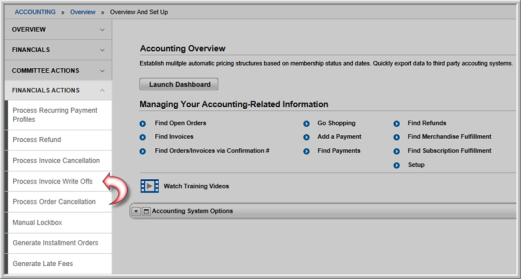 writing off invoice balances in a batch process