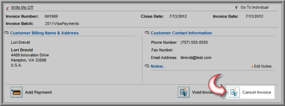 cancelling an invoice for a credit card transaction